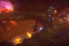 Human_wizard_and_Kerran_warrior_break_through_cavern_floor_to_a_magma_chamber_below_them