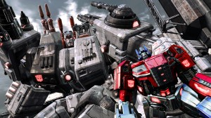 Transformers FOC - Optimus standing in Metroplex hand