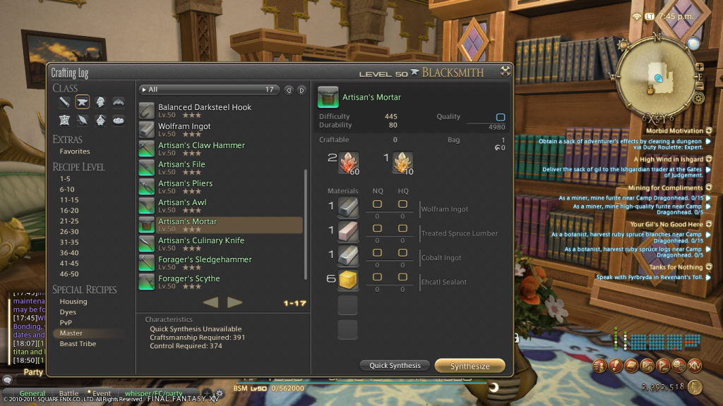 Requirements for FFXIV's new crafting off-hand tools.